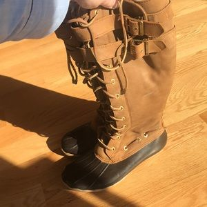 Sperry suede tall boots shearling lined
